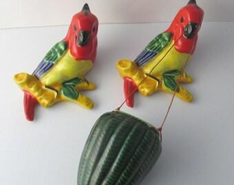 Tropical Parrot Bird Kitsch Wall Pockets Basket Vintage Ceramic 1960s Decor Japan