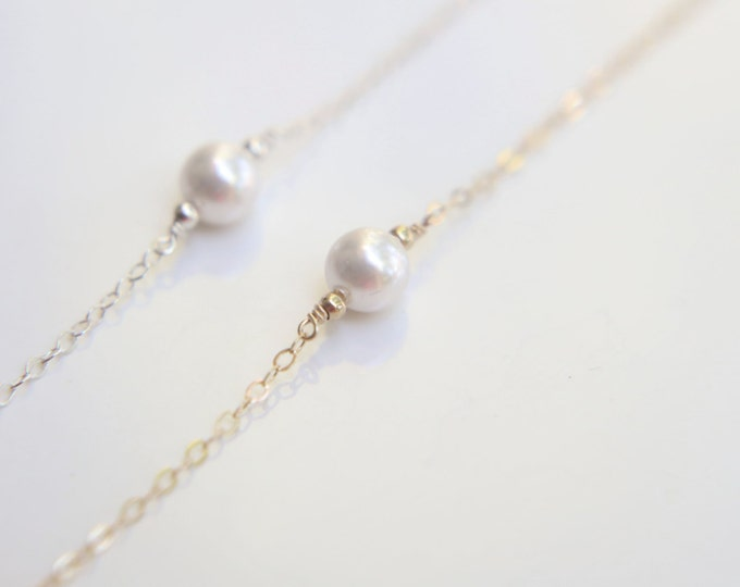 Simple pearl Bracelet - Sterling silver and gold filled  EB008