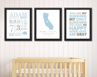 personalized baby prints birth stats, baby room wall decor, baby boy birth announcement, birth date print, baby nursery art, baby stats