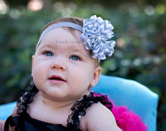 Baby headband, gray and white chevron, flower with pearl, infant headband, gray headbands, newborn girl, 1st birthday