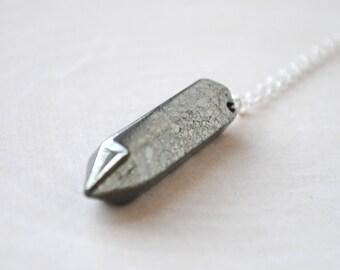 Pyrite Point Necklace - Pointed Pyrite Necklace - Pyrite Neckalce