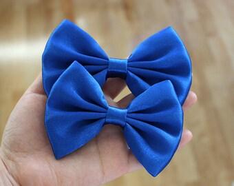 """4"""" or 4.5"""" royal blue hair bow, dark blue satin hair bow, king blue hair bow, silky satin fabric hair bow, women hair clip, blue hair bow"""