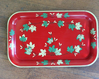 Vintage Red Metal Tray - Fall Maple Leaf Graphic