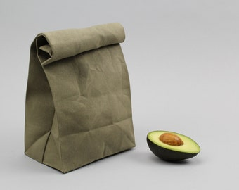 "The ""Brown"" Bag // Moss Green WAXED Canvas Lunch Bag, an updated, eco-friendly classic"