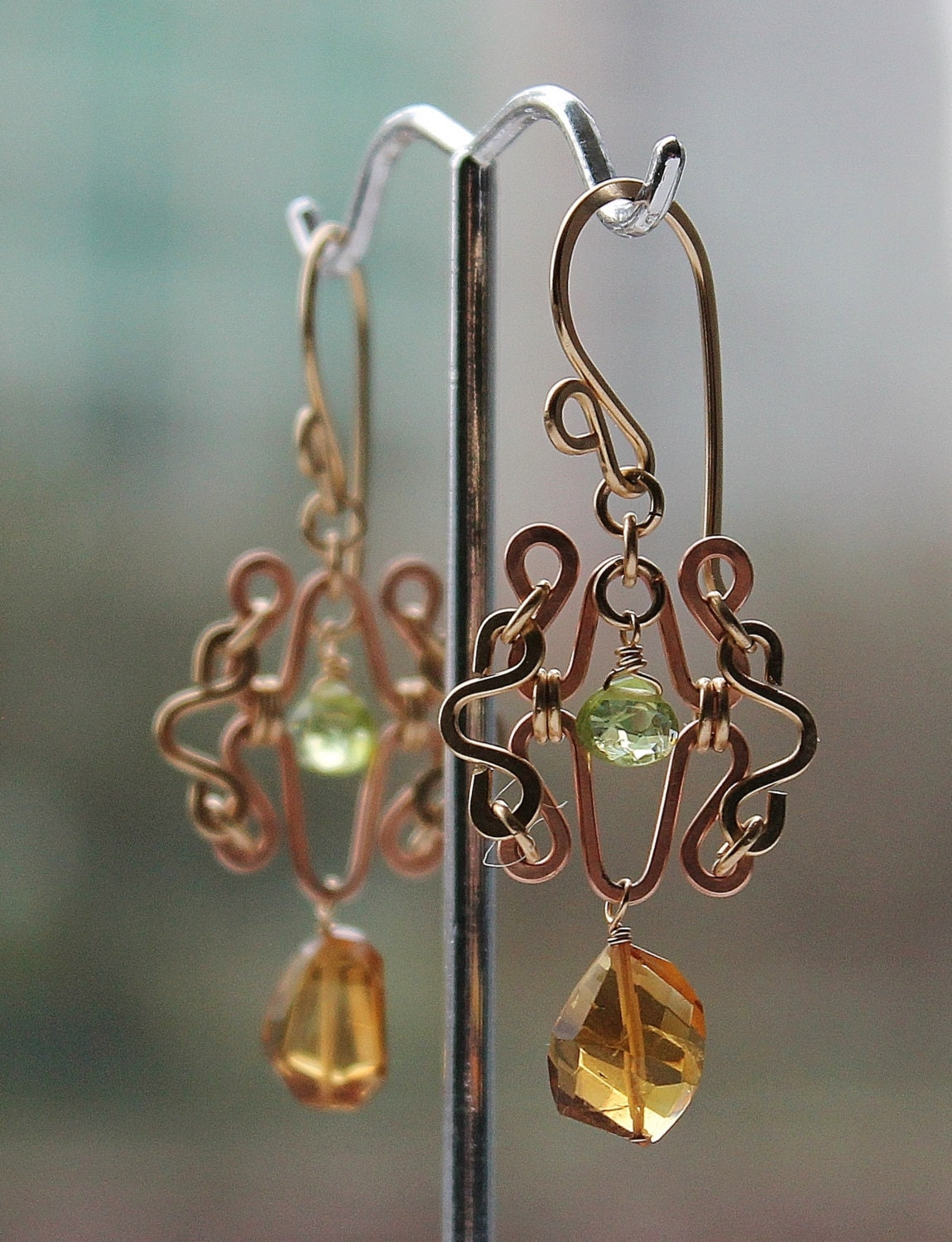 Rose Gold and 14 Karat Gold Filled Chandelier Earrings with