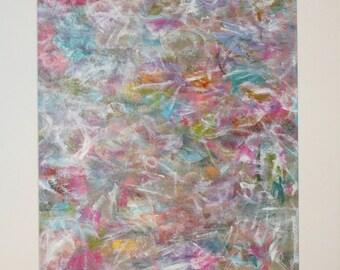 Abstract Original Painting Acrylic Modern Pastel Art Lavender, Aqua, Pink, Gold, Modern Pastel Wall Art