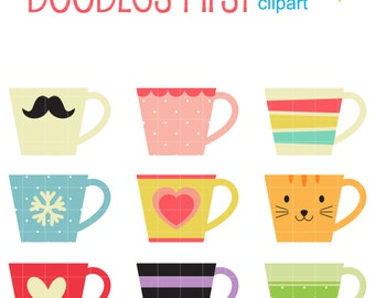 Coffee Mugs Digital Clip Art for Scrapbooking Card Making Cupcake Toppers Paper Crafts