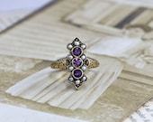 Antique Victorian Amethyst & Pearl Ring, Circa 1895 14k Yellow Gold, Ornately Hand Engraved Rich Bohemian Cocktail Ring, February Birthstone