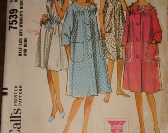 1960s 60s Vintage Half Size Knee Length Front Button Robe n Sleeveless Nightgown COMPLETE McCalls Pattern 7539 Bust 35 Inch 90 Metric