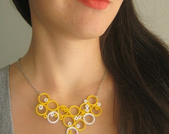Yellow necklace, Bubble necklace, Circle necklace, Paper jewelry, yellow white jewelry, Geometric necklace