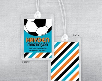 Soccer bag tag. Soccer luggage tag.