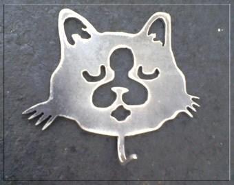 Kitty Cat  Metal Art Hook