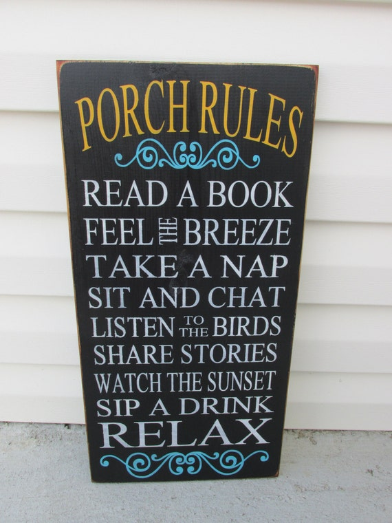 Porch Rules Sign Porch Signs Outdoor Sign Decor Patio By