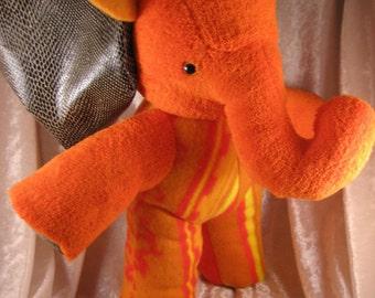 Orange ELEPHANT MANGO PAPAYA plush exotic reptile home decor stuffed elephant orange plush mango elephant papaya elephant plush softie ooak