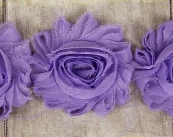 "Rosettes - ""Violet"" Shabby Chiffon Flower - shabby chiffon flower trim, shabby chiffon rose trim, shabby rosette trim diy headband"