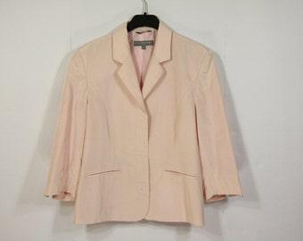 Womens Pale Pink Romantic Blazer 3/4 Sleeve Elegant Secretary Rose Jacket