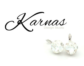CRYSTAL CLEAR 12MM Cushion Cut Drop Leverback Earrings Made With Swarovski Elements *Pick Your Metal *Karnas Design Studio *Free Shipping*