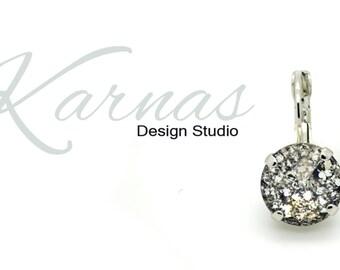 CRYSTAL BLACK PATINA 12MM Crystal Rivoli DropEarrings Made With Swarovski Elements *Pick Your Metal *Karnas Design Studio *Free Shipping*