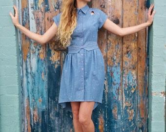 Denim Shirt Dress / Boho Dress / Blue Summer Dress - Handmade by FallFellFallen