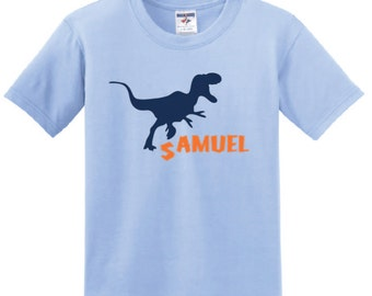 Personalized Dinosaur Stomp T shirt, boy toddler T-Rex tee