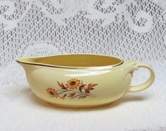 Yellow Gravy Bowl or Pitcher with Daisies 1950s