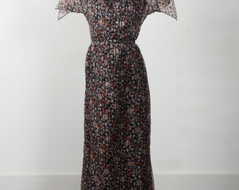 Vintage 70's Floral Goddess Maxi Butterfly Wing Sleeve Dress