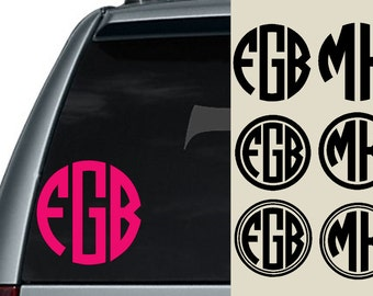 Circle Monogram Car Decal / Laptop Decal / Car Decal / Macbook Decal