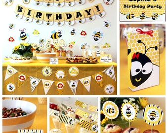 Bumble Bee Birthday Printables - Bumble Bee Party - Honey Bee Birthday - Bumble Bee Party Decorations - Honey Bee Party (Instant Download)