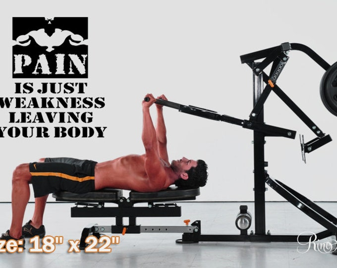 """Vinyl Decal MOTIVATION WALL QUOTES """"Pain is just weakness leaving your body """" wall decal wall sticker runner gym dumbbell crossfit"""