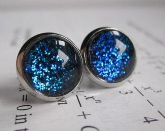 Blueshift - Earring studs - science jewelry - science earrings - galaxy jewelry - physics earrings - fake plugs - plug earrings - nebula