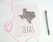 Texas Map Print Chevron Home Decor Shabby Chic decor Leopard Print Art Animal Print Wall Art Travel Poster Fashion Print Hand drawn pattern
