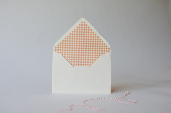 gingham lined envelopes (25 color options) - sets of 10