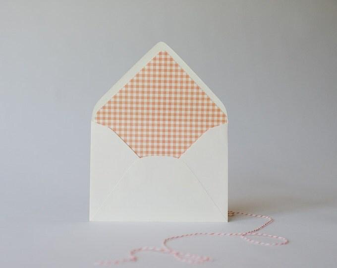 gingham lined envelopes (25 color options) - sets of 10