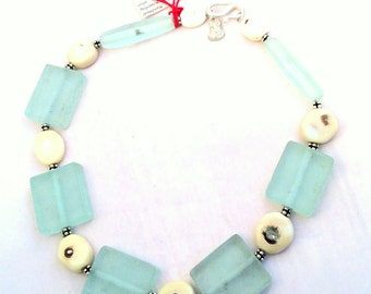 "Dramatic  20"" Necklace. Slabs of Translucent Frosted Glass & Natural Creamy Beige Coral, Sterling SIlver. free US ship 139.00"