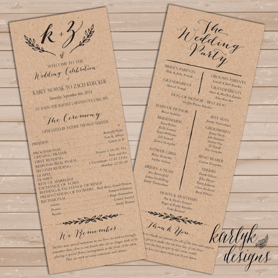 Rustic wedding program printable wedding program wedding for Downloadable wedding programs
