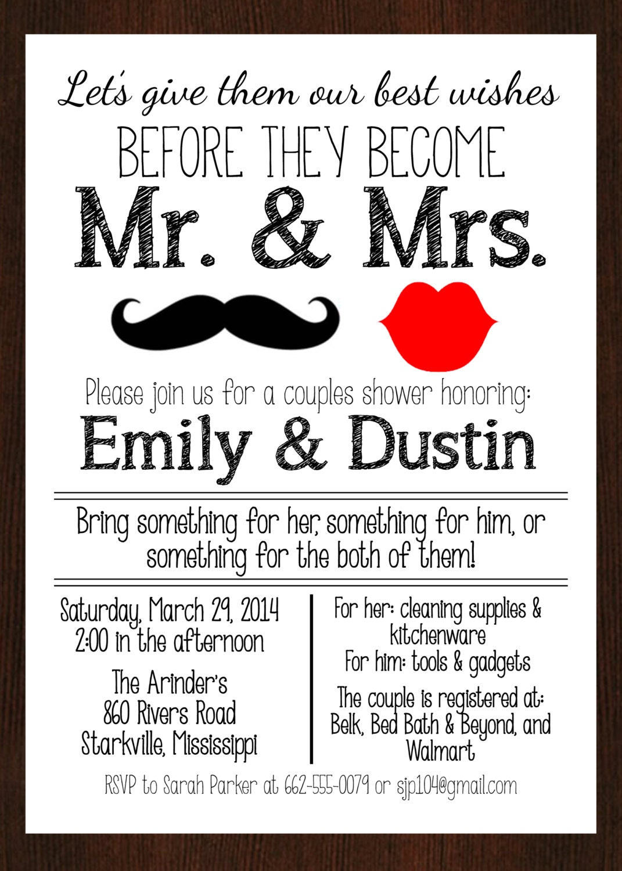 Printable Mr Amp Mrs Couples Wedding Shower Invitation Lips