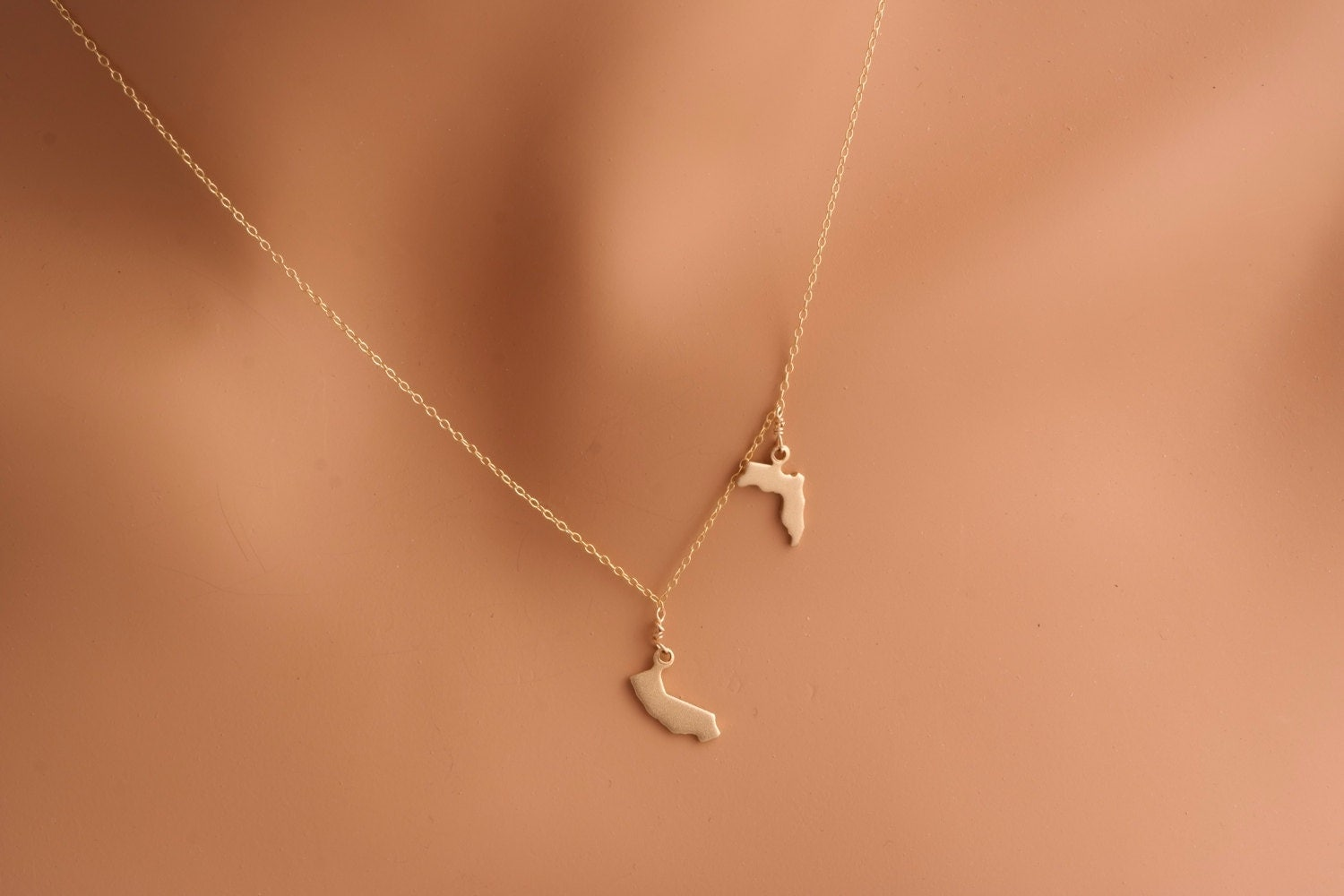 two state necklace gold all 50 state jewelry california