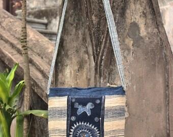 Hand Woven Hemp Hand Drawn Batik Hmong Shoulder Sling Messenger Bag Vintage Hill Tribe