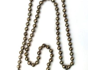 Knotted Pyrite & Diamond Bone Buddha Pendant Necklace