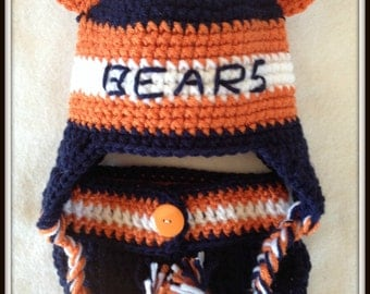Chicago Football Baby Bears crochet Hat & Diaper Cover Photo Prop Baby Shower Gift