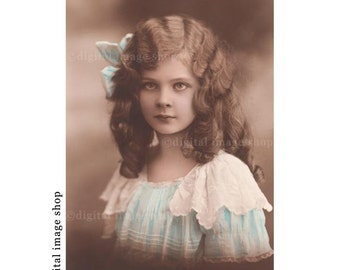 Digital Image Pretty Young Girl Intense Eyes Early 1900s Vintage Postcard Instant Download Digital Graphics PC02
