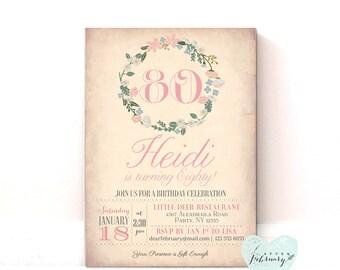 Adult Birthday Invitation - Milestone Invitation - Chabby Chic Peach Vinatge Floral - Printable Invitation - No.39