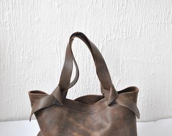 Leather tote bag Laptop bag Dark brown leather bag  Woman bag  Tote bag Everyday bag Casual bag Custom tote bag Shoulder bag
