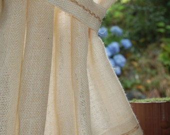 40 inches wide Ivory Burlap Window Curtain Panel with Hand embroidered hem and custom length up to 70'' & up to 118''