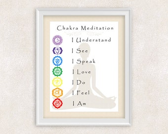 Chakra Meditation Art Print - Yoga Studio Art - 8x10 PRINT - Meditation Room  - Item