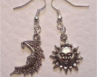 Silver Moon and Sun Earrings Mismatched Silver Sun And Moon Asymmetrical Celestial Earrings Smiling Moon Happy Sun Dangling Earrings