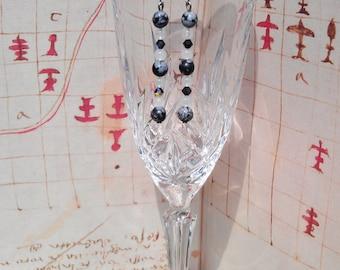 Snowflake Obsidian, White Jade and Black Swarovski Crystal Drop Earrings.