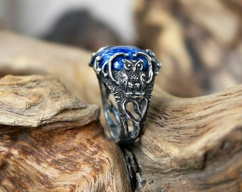 """Unique Sterling Silver Gemstone Ring, Lapis Lazuli Ring """"Owl"""" MADE TO ORDER, owl ring, gemstone ring,sterling silver jewelry"""