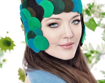 Molecular Mermaid Helmet in green and blue shades of Velour Fur Felt
