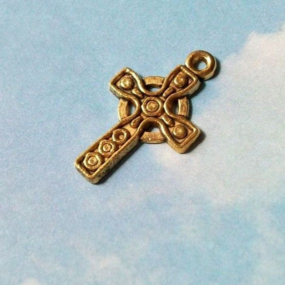 10 cross charms with circle pattern, antiqued gold tone, 27mm